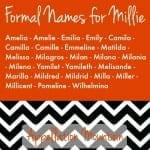 Formal Names for Millie: Millicent, Amelia, and More