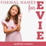 formal names for evie