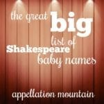 The Great Big List of Shakespeare Baby Names