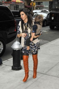 Kourtney Kardashian 32 carries  22 month old  Mason Disick back to their hotel in Manhattan