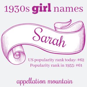 1930s Names: Sarah