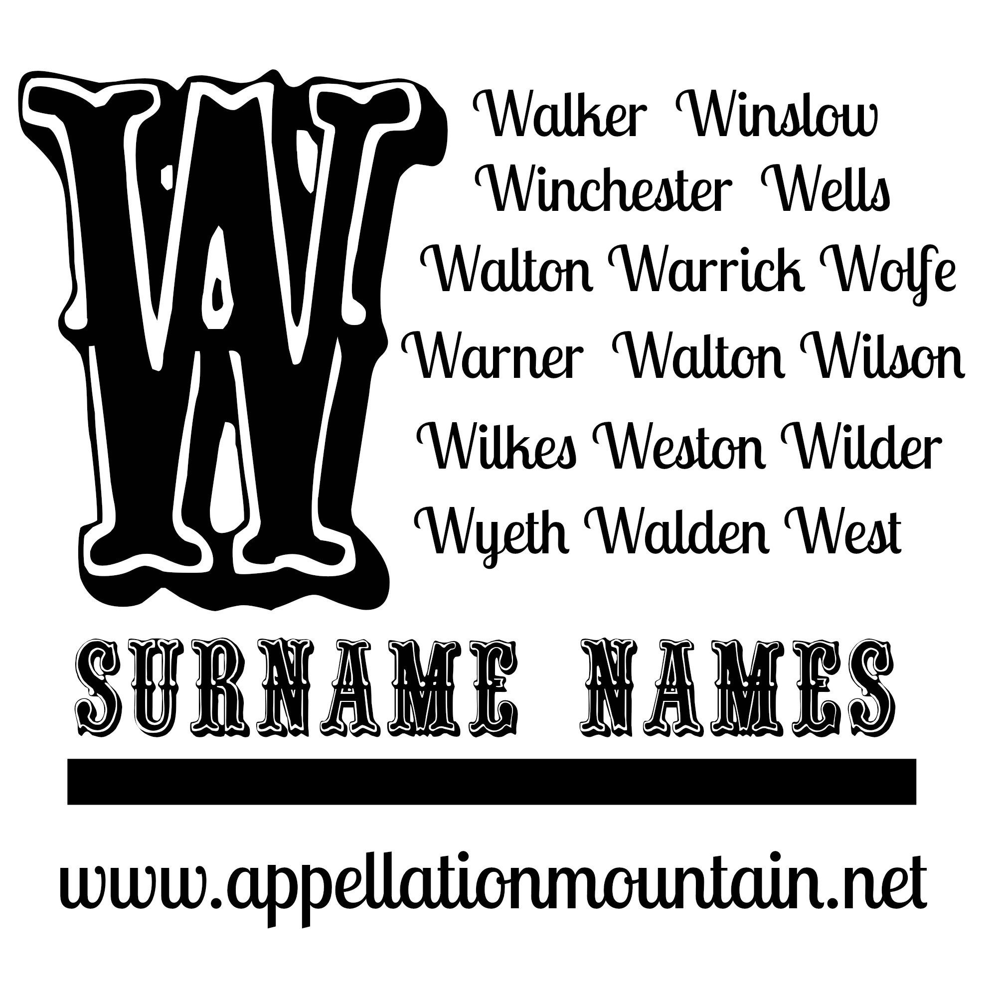 Walker Walton And Winchester W Surname Names