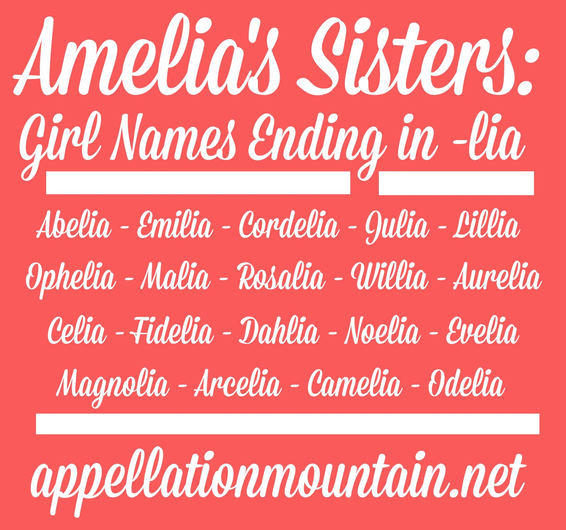 amelia s sisters girl names ending in lia appellation mountain