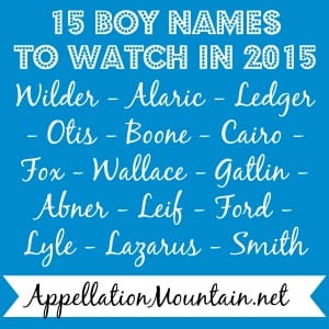 Trendwatch 2015 Boy Names