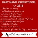 Baby Name Predictions 2015