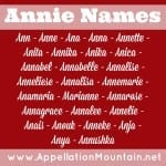Anna, Annalise, and Annika: The Annie Names