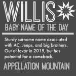 Willis: Baby Name of the Day