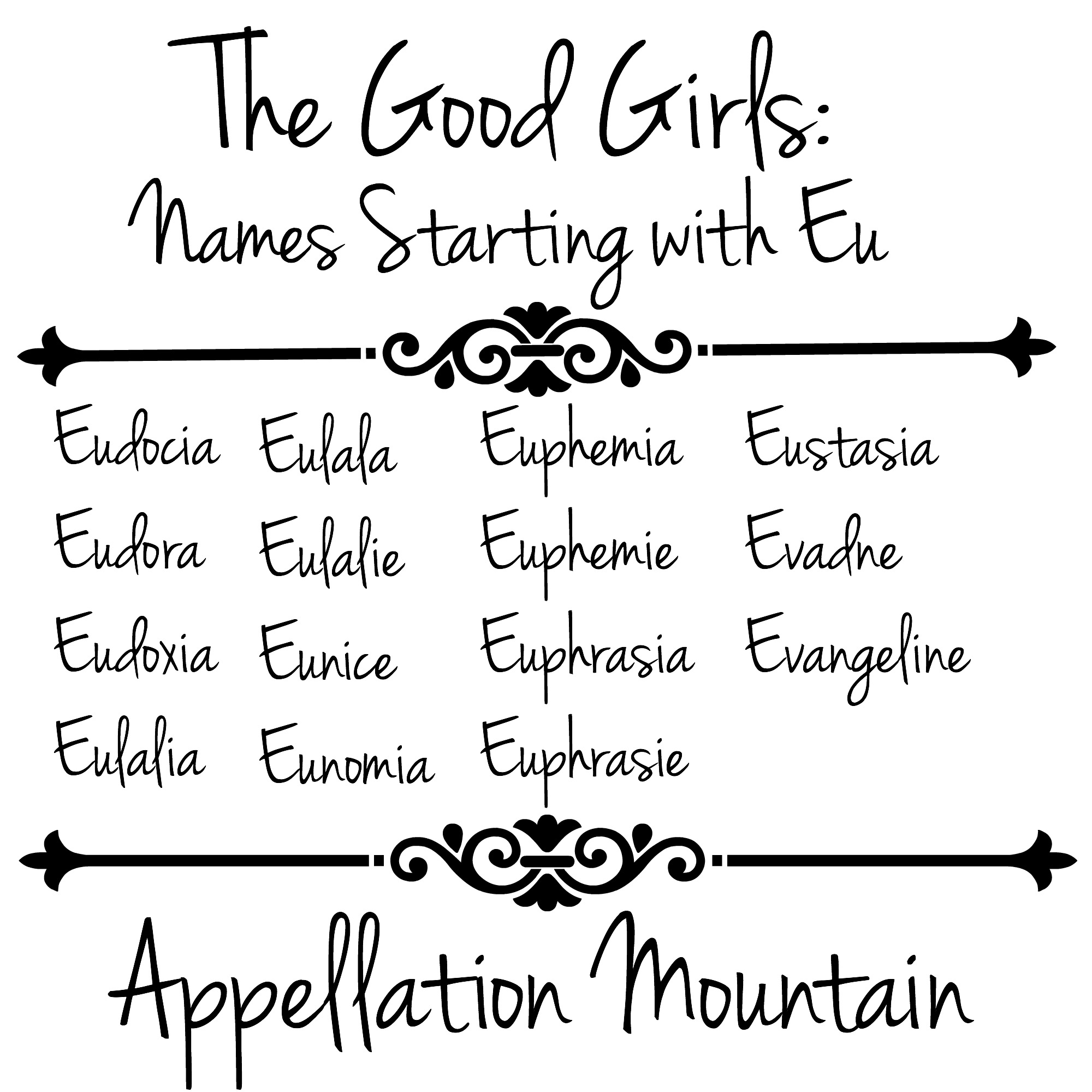 The Good Girls Names Starting With Eu