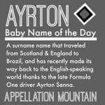 Ayrton: Baby Name of the Day