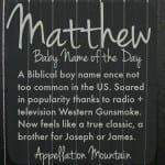 Matthew: Baby Name of the Day