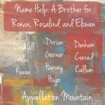 Name Help: A Brother for Ronan, Rosalind & Elowen