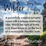 Wilder: Baby Name of the Day