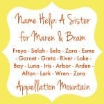 Name Help: A Sister for Bram and Maren