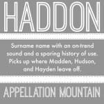 Haddon: Baby Name of the Day