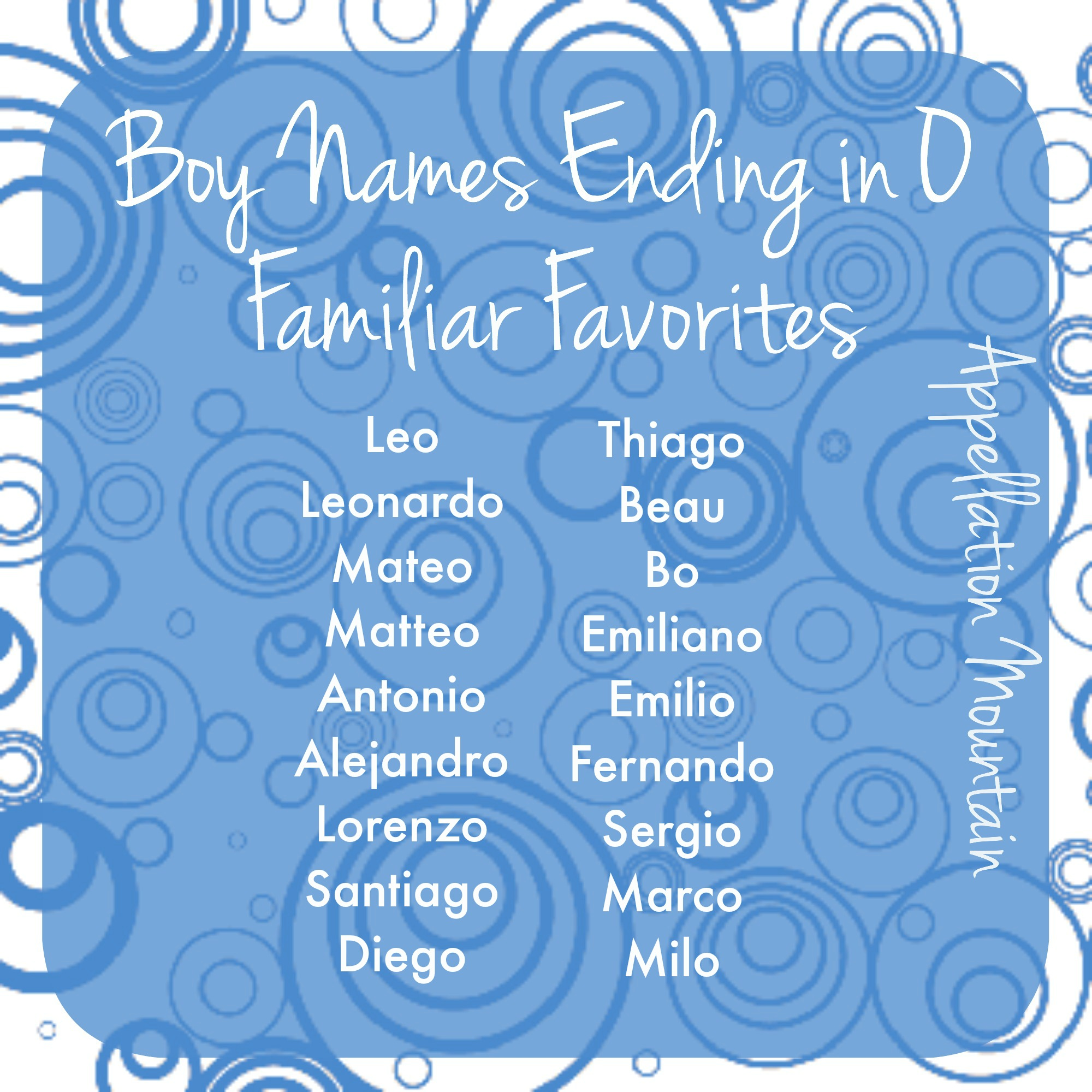 Boy Names Ending In O Familiar Favorites