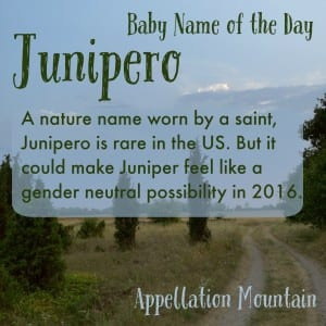Junipero: Baby Name of the Day