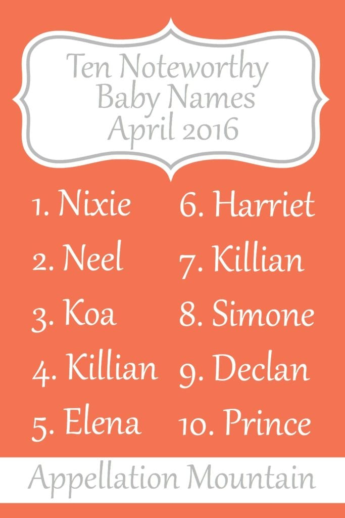 Noteworthy Baby Names April 2016