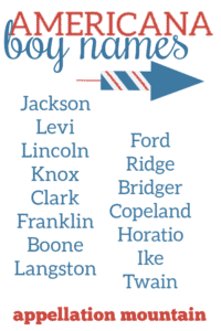 Americana baby names for boys