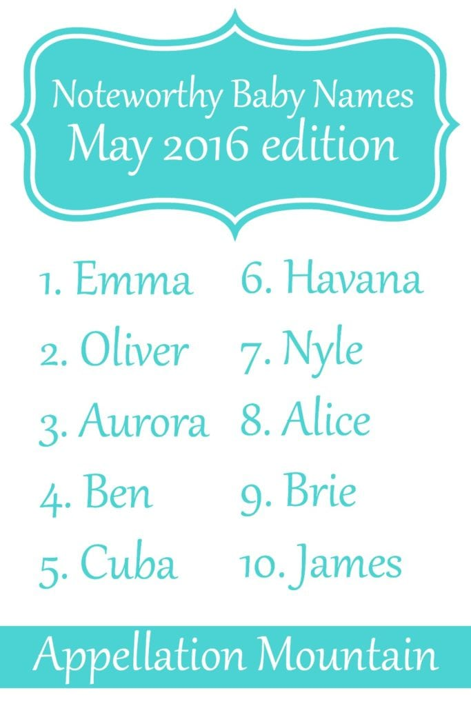 Noteworthy baby names May 2016