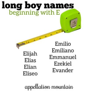 Long Boy Names: E