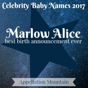 Celebrity Baby Names 2017: Marlow Alice