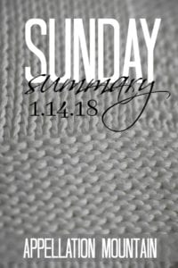 Sunday Summary 1.14.18