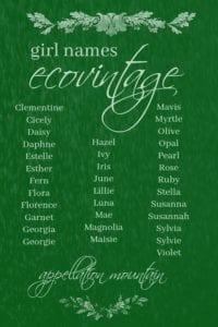 Ecovintage GIrl Names