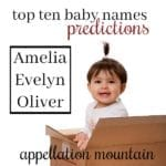 Top Ten Baby Names Predictions 2018: Amelia, Evelyn, Oliver
