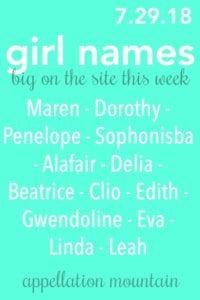 Girl Names 7.29.18