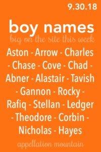 Boy Names 9.30.18