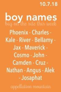 Boy Names 10.7.18