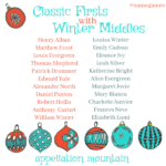 Name Games: Classic Firsts with Winter Middles