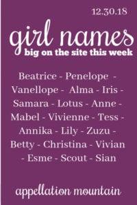 Girl Names 12.30.18