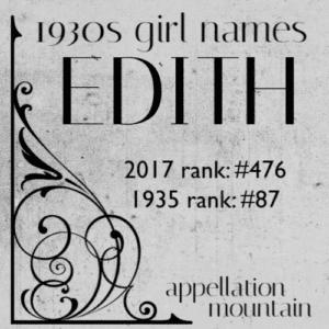 1930s Girl Names: Edith