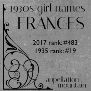 1930s Girl Names: Frances