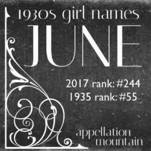 1930s Girl Names: June