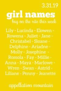 Girl Names 3.31.19