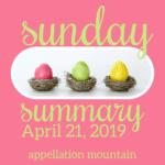 Sunday Summary: 4.21.19