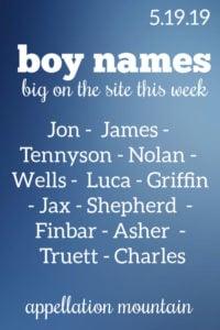 Boy Names: 5.19.19
