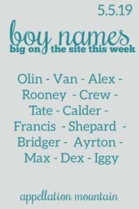 Boy Names: 5.5.19