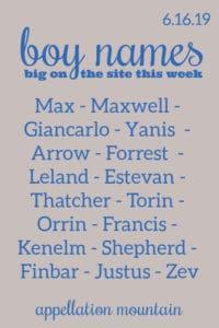 Boy Names 6.16.19