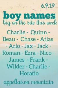 Boy Names 6.9.19