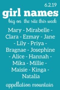 Girl Names 6.2.19