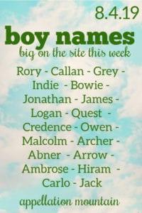 Boy Names: 8.4.19