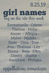 Girl Names 8.25.19