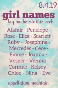 Girl Names: 8.4.19