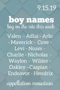 Boy Names 9.15.19