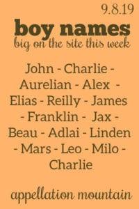 Boy Names 9.8.19
