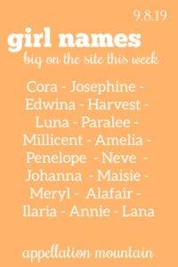 Girl Names 9.8.19