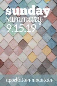 Sunday Summary: 9.15.19